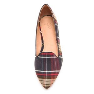 Joie Pointed Toe Smoking Flats In Plaid